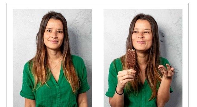 """A gerente de Marketing Cristine Lu participando da ação: """"Um dia sem prazer é um dia perdido"""""""