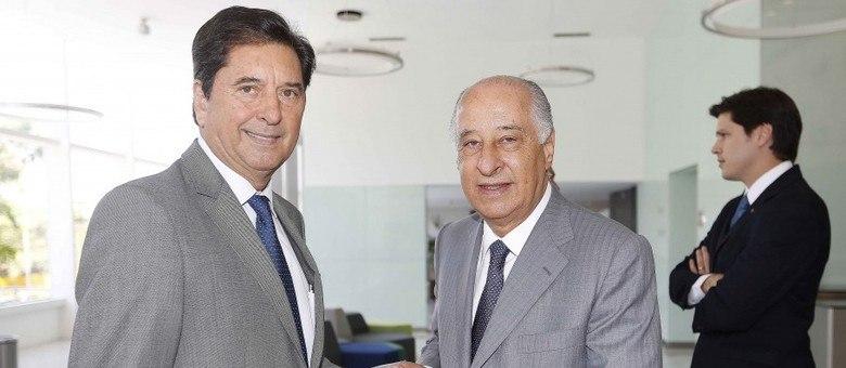 Maguito ao lado de Marco Polo Del Nero, ex-presidente da Federação Paulista de Futebol
