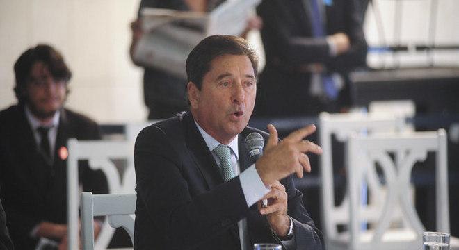 Maguito Vilela em pronunciamento como prefeito de Aparecida de Goiânia, em 2015