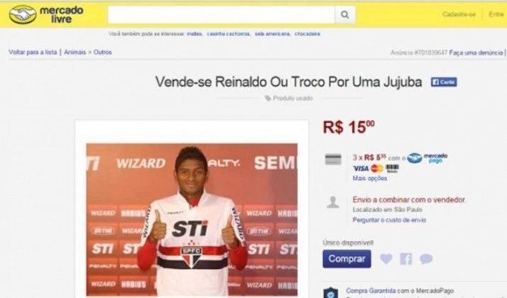 Mais um jogador colocado à venda pela torcida do São Paulo. O lateral-esquerdo Reinaldo foi colocado no Mercado Livre durante sua primeira passagem pelo clube.
