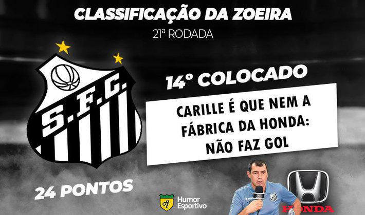 Mais uma rodada do Brasileirão está encerrada, e o Humor Esportivo mostra como ficou o campeonato, sempre com aquela pitada de irreverência. Por exemplo, o Santos de Carille já tem sido questionado pela ausência de gols. Veja, na sequência, a brincadeira com os outros times!
