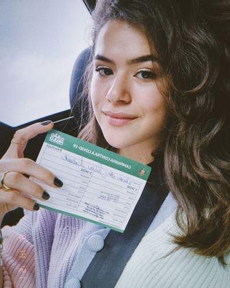 Maisa Silva acaba de engrossar a lista de famosos vacinados contra acovid-19. A apresentadora de 19 anos foi imunizada no dia 14 de agosto compartilhou uma mensagens falando da importância dos jovens de se protegerem contra a doença que já tirou a vida de mais de 550 mil brasileiros