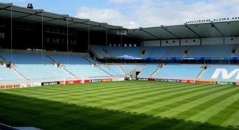 O estádio do Malmoe da Suécia