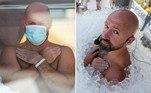 O austríacoJosef Koeberl, 42, bateu o recorde mundial de permanência em uma caixa cheia gelo