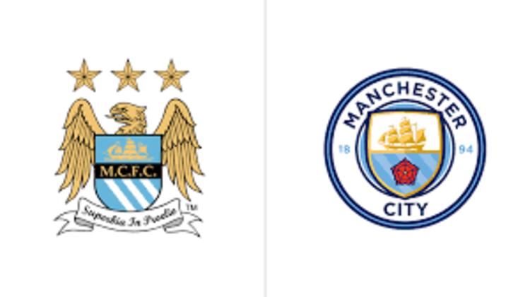 Manchester City - Em 2015, o Manchester City abandonou o escudo com uma águia e três estrelas e retomou o circular, que havia usado entre 1972 e 1997. Assim, o emblema voltou a ter o navio, simbolizando a tradição de Manchester como porto de trocas, e a rosa vermelha