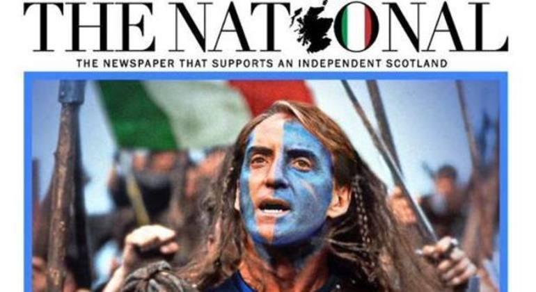 """O Mancini como o """"Braveheart"""", na capa de um jornal separatista da Escócia"""