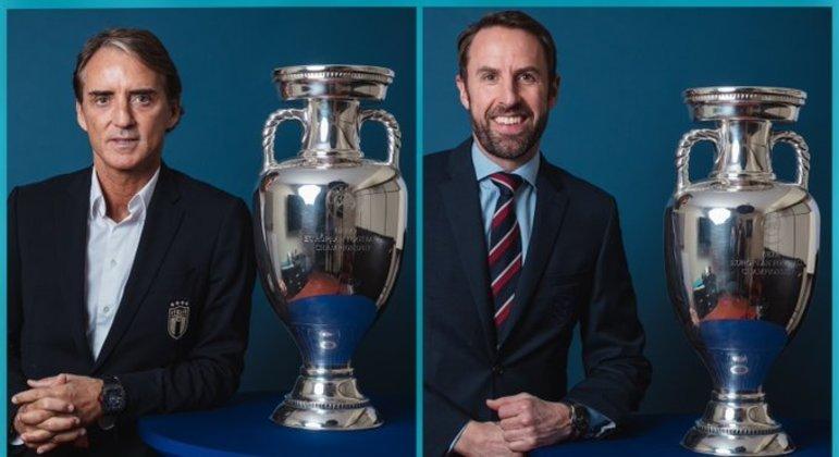 Roberto Mancini, da Itália, e Gareth Southgate, da Inglaterra