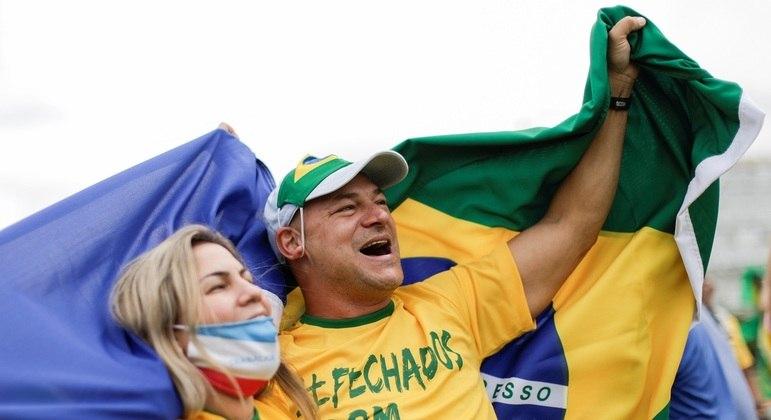 Manifestação a favor de Bolsonaro em Brasília