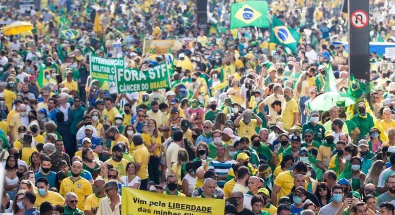 Em 7 de setembro, ao menos dez quarteirões ficaram tomados por apoiadores do presidente