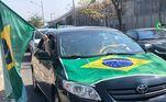 Em ato de apoio ao presidente, manifestantes se concentraram no estádio Mineirão e saíram em carreata até a praça da Liberdade. O trajeto tem pouco mais de 10 km e foi acompanhado por agentes da Guarda Municipal, BHTrans e Polícia Militar.