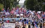 manifestação de cubanos nos EUA