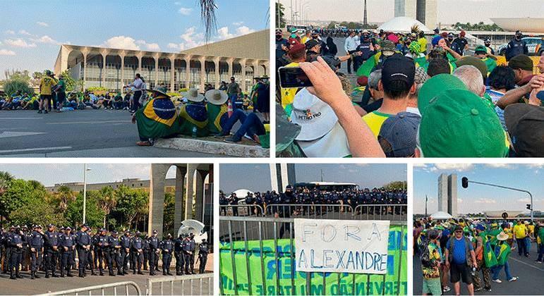 Manifestantes na Esplanada nesta quarta-feira, 8 de setembro