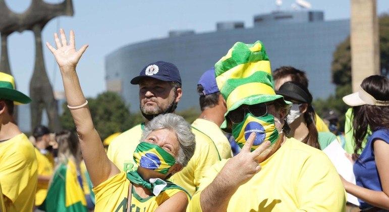 Manifestantes se concentraram na frente do Palácio do Planalto e na Esplanada dos Ministérios; Brasília terá atos a favor e contra o presidente neste 7 de Setembro