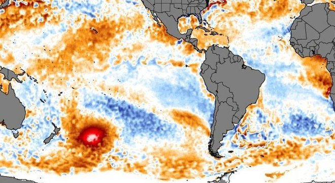 A mancha de água quente foi identificada por imagens de satélite. Ela é do tamanho de mais da metade do México