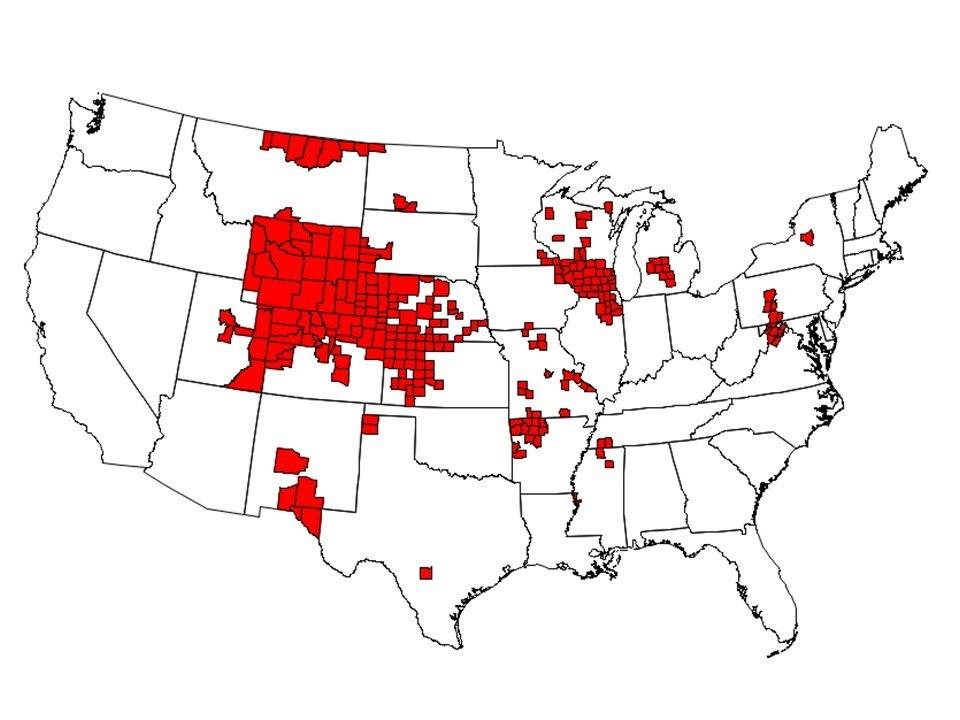 Animais foram registrados em 24 estados dos Estados Unidos