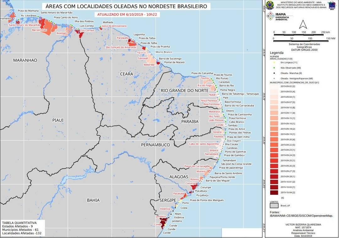 Mapa mostra áreas atingidas por petróleo no Nordeste brasileiro