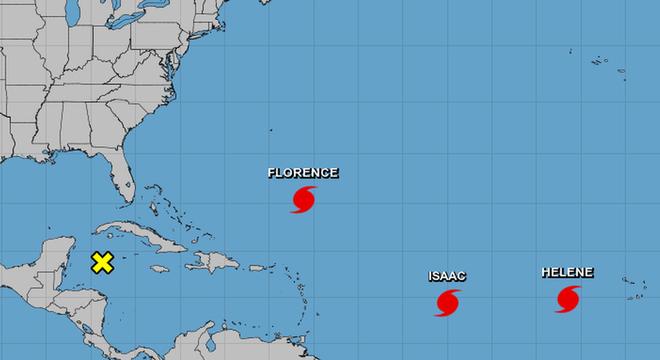 Mapa com furacões
