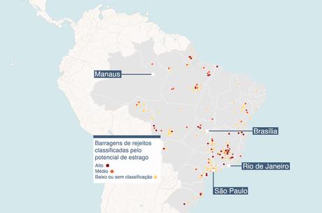 Mapa com localização e classificação de barragens