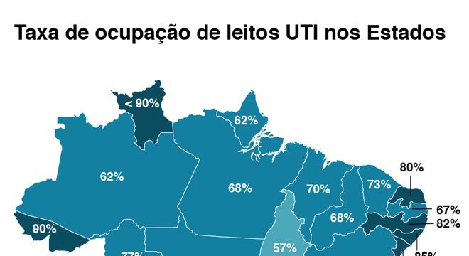 mapa com taxas de leitos ocupados