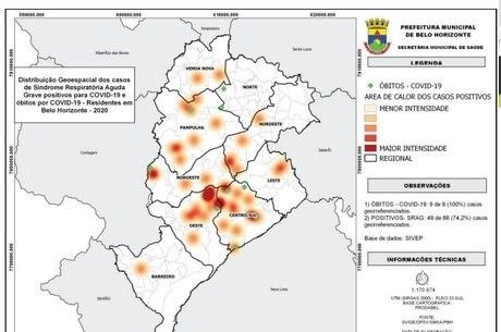 Áreas em vermelho mostram concentrações de casos