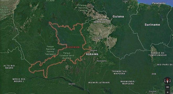 Terra Indígena Yanomami fica na fronteira do Brasil com Venezuela, nos Estados de Roraima e Amazonas