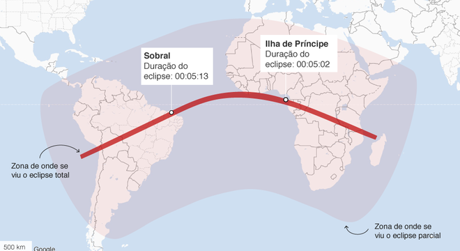 Mapa da trajetória do eclipse