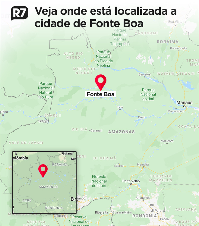 Cidade de Fonte Boa fica a mais de 600 km da capital Manaus