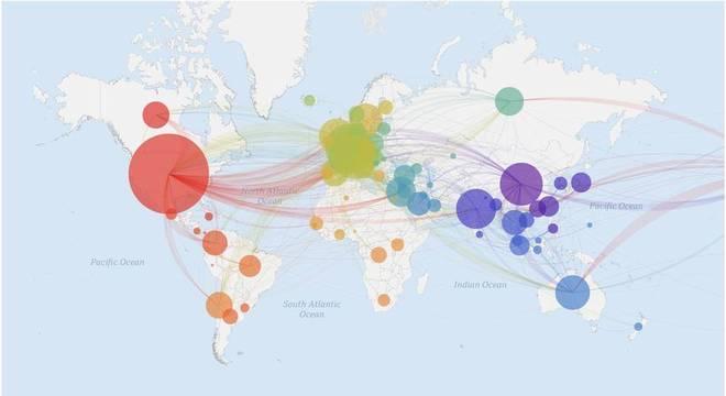 Mapa mostra as milhares de sequências genéticas do coronavírus, que mutou também a partir das viagens e dos contatos que infectados fizeram ao redor do mundo