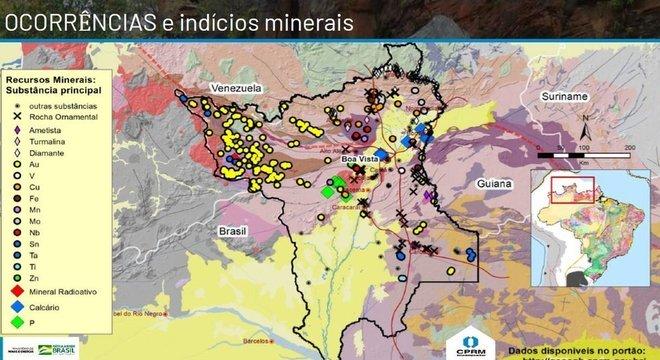 Maior parte das ocorrências de ouro (Au) em Roraima fica no território Yanomami, no noroeste do Estado