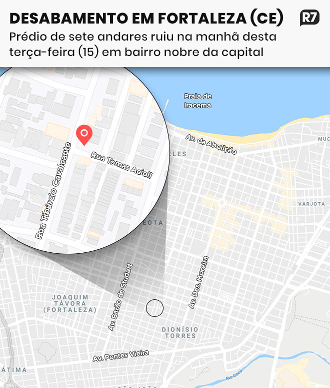 Prédio que ruiu em Fortaleza fica próximo ao mar