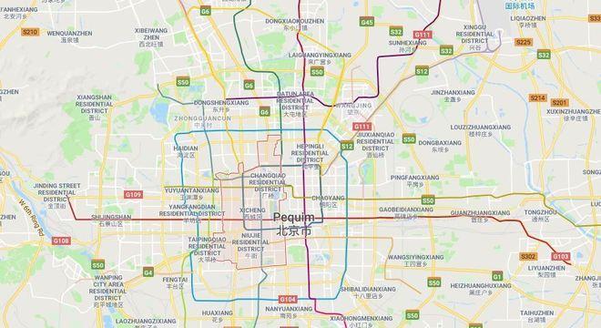 Distrito de Xicheng marcado em vermelho no mapa de Pequim