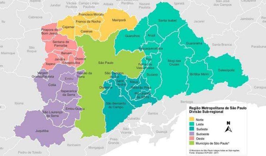 Subdivisão da região metropolitana