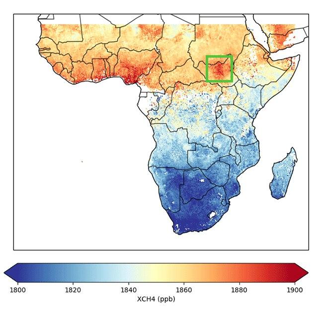 O instrumento de observação Tropomi detectou uma área com metano sobre o Sudd (em destaque)