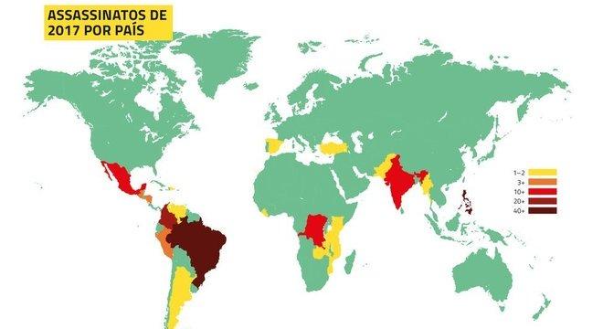 Mapa elaborado pela Global Witness mostra as regiões com mais mortes de ativistas no mundo; Brasil é o destaque - quanto mais vermelha a cor, maior o número de casos