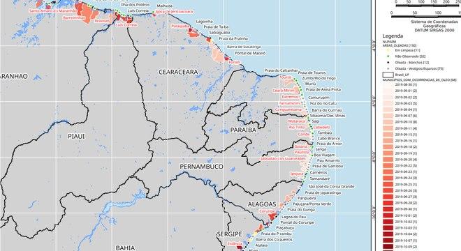 Ibama Mapa mostra regiões atingidas por petróleo de origem desconhecida no Nordeste