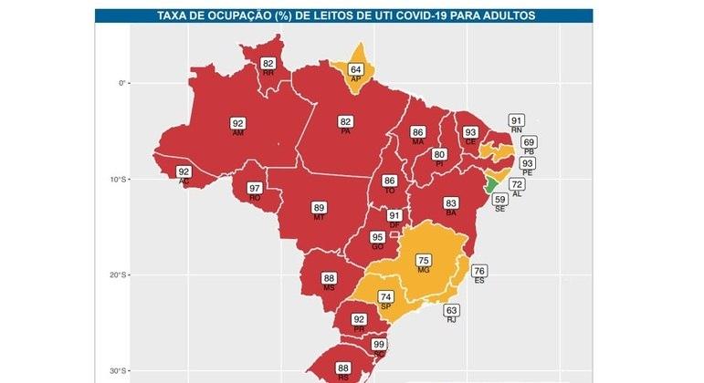 Das 27 capitais, 20 têm ocupação de leitos de UTI acima de 80%