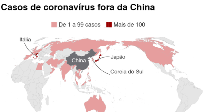 mapa global do coronavírus