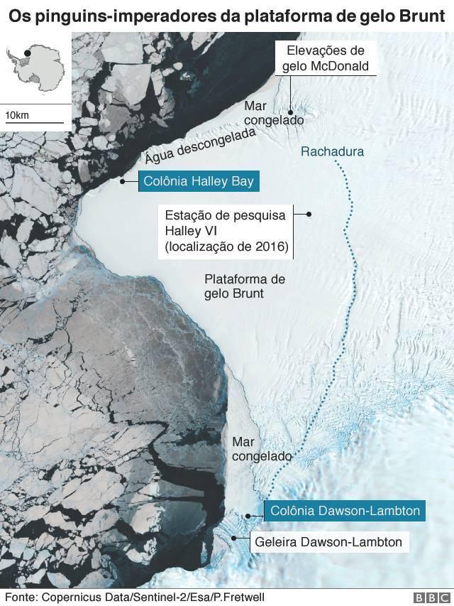 Mapa indicando a localização da plataforma de gelo Brunt, onde viviam os pinguins-imperadores