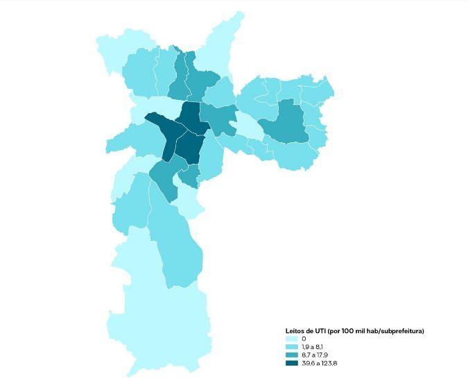 Distribuição dos leitos públicos de UTI por 100 mil habitantes/subprefeitura