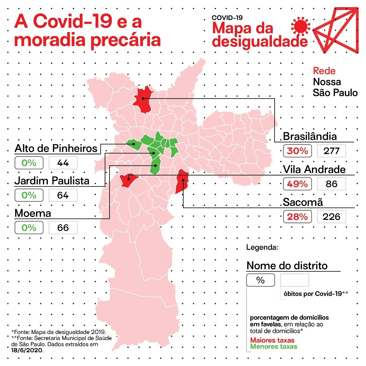 Mapa da relação entre domicílios em favelas e óbitos por covid-19