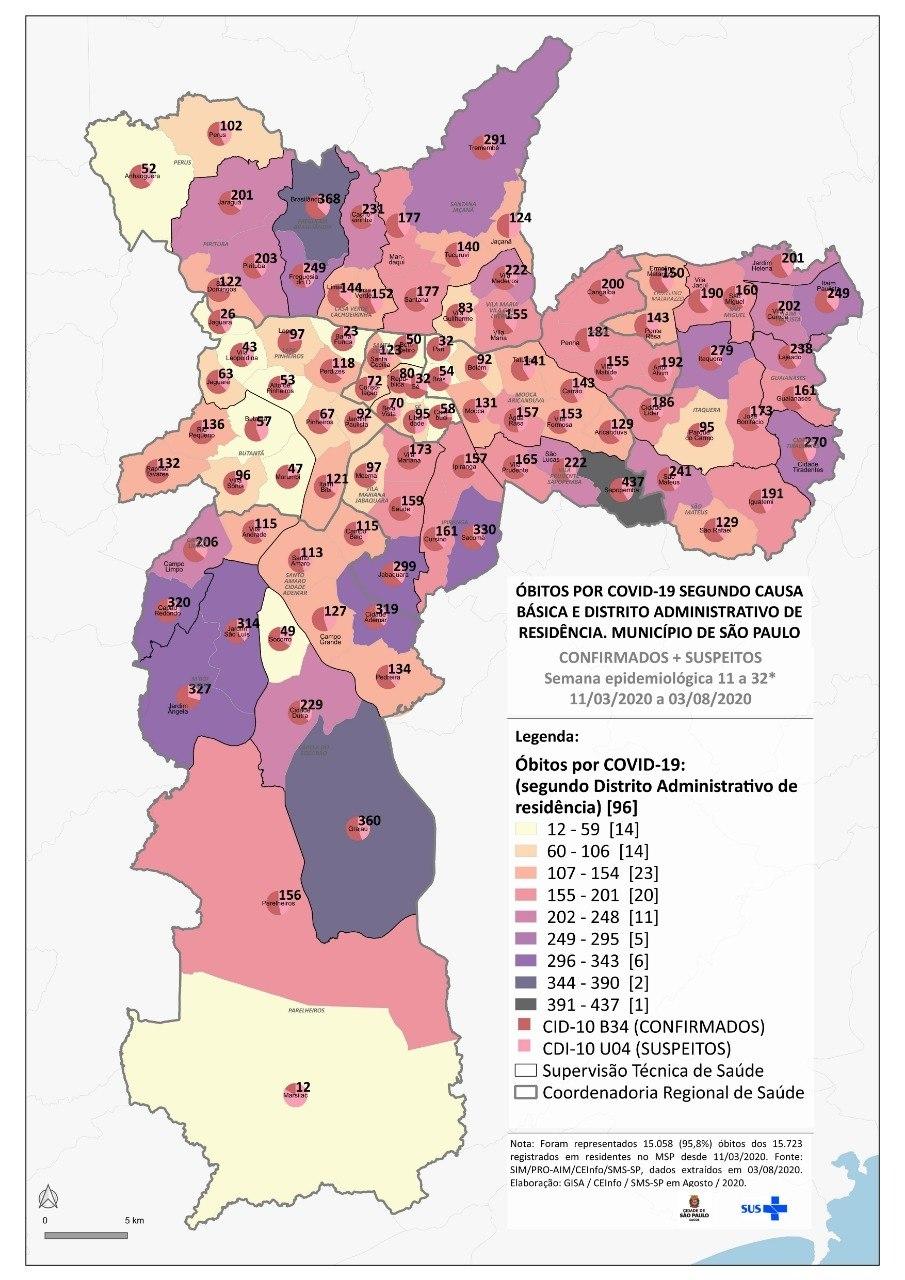 Boletim epidemiológico da covid-19 por distritos da capital paulista