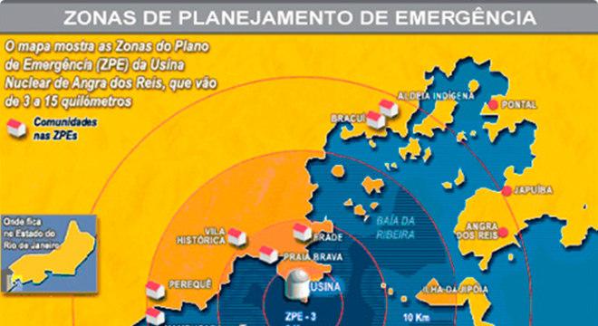 Mapa mostra diferentes raios de ação para o planejamento de emergência da Central Nuclear de Angra Energia que não produz carbono, mas gera lixo radioativo