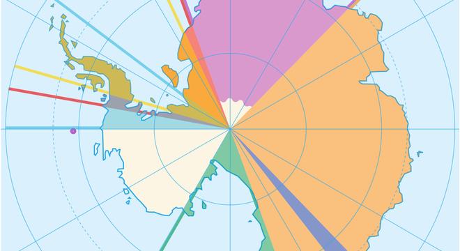 Mapa mostra reivindicações territorais na Antártida; área em branco não foi pleiteada