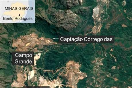 Mapa mostrando o distrio de Bento Rodrigues, e as barragens próximos