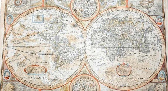 O mapa do mundo, que mostra a Califórnia como uma ilha, foi encontrado ensopado em um quadro quebrado de um bazar beneficente