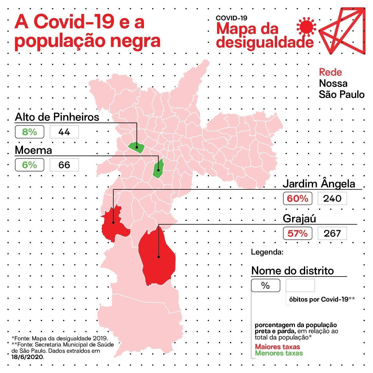 Mapa da relação entre população negra e óbitos por covid-19