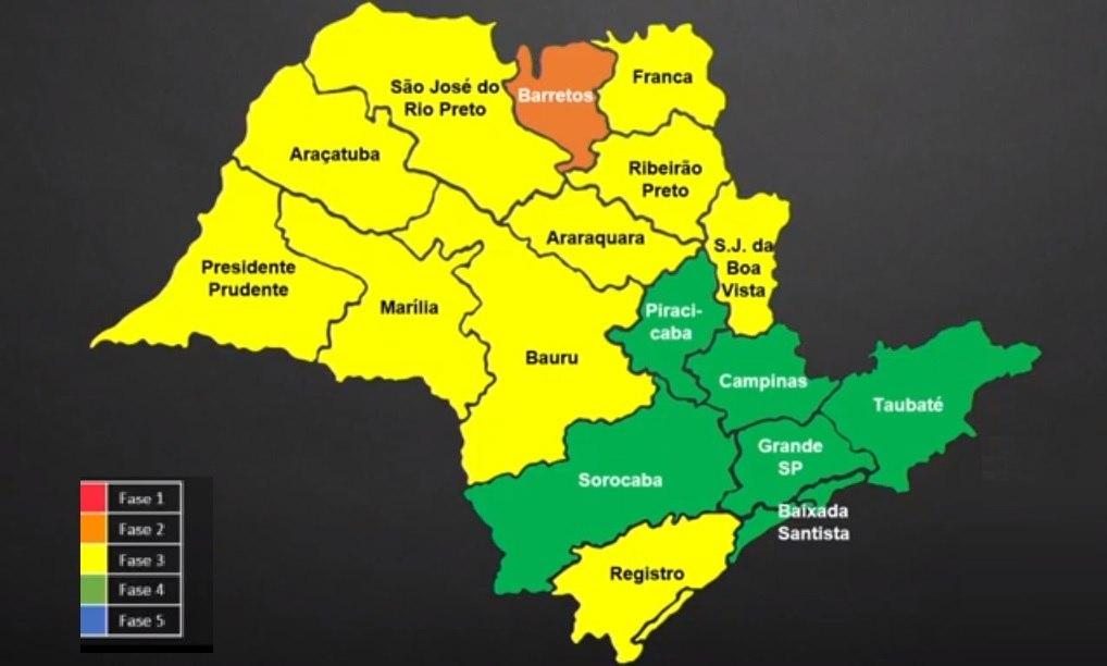 Mapa mostra as regiões que vão para a fase verde