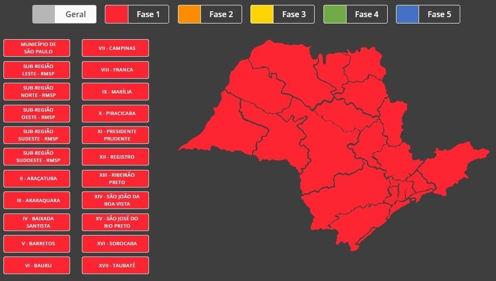 Todo o estado de São Paulo vai entrar na fase vermelha a partir deste sábado (6)