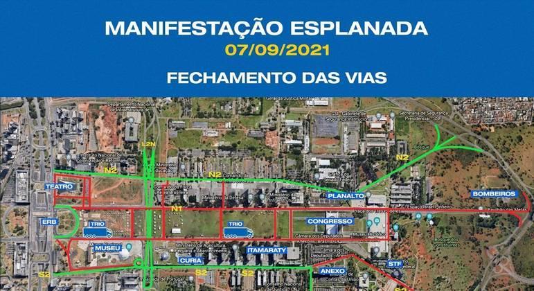 Trânsito será fechado na Esplanada para o 7 de Setembro