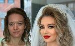 Noiva antes e depois de ser preparada por Arber